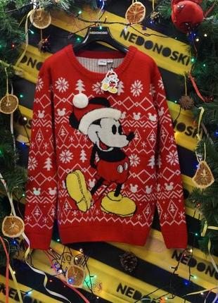 Новогодний рождественский праздничный свитер микки маус в шапке mickey mouse