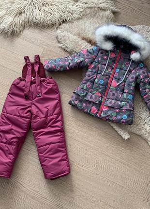 Зимний комбинезон на девочку 3-6 лет, размеры 98-116, 723
