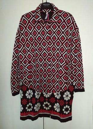 Пальто вязаное оверсайз twin-set simona barbieri, р.xs. новый кардиган