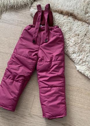 Зимний полукомбинезон штаны на девочку 3-6 лет, размеры 98-116, 7221