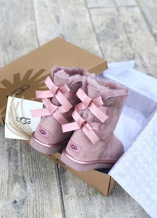 Ugg bailey bow pink ii натуральные женские зимние сапоги угги розовые зима овчина