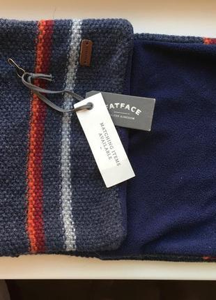 Стильный, теплый темно-синий шерстяной шарф fat face на флисе