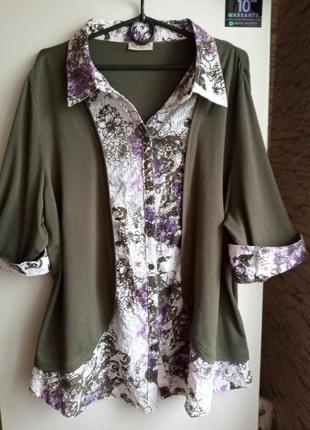 Трикотажный блузон-обманка большого размера