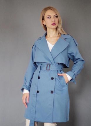 Без наценки трендовый идеальный тренч небесного цвета плащ пальто