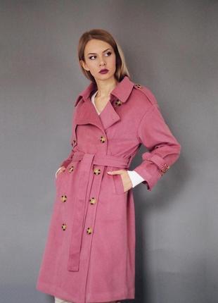 Утепленное пальто нежная роза кашемир шерсть