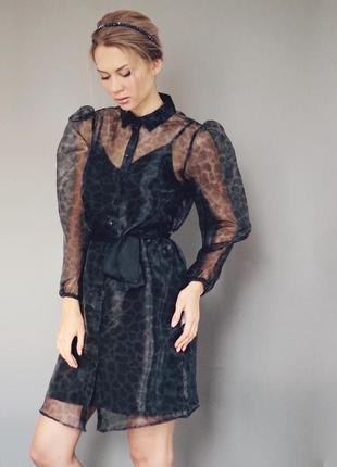 Трендовое платье из двух частей с поясом органза принт жираф