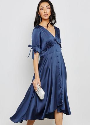 Шикарное качественное вечернее коктейльное синее платье миди с оборками lost ink