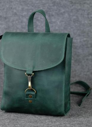Кожа. ручная работа. кожаный зеленый рюкзак, рюкзачок.