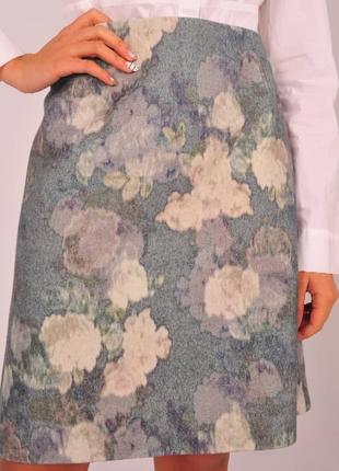 Яркая женская юбка hobbs цветочный принт цветы шерстяная шерсть на новый год