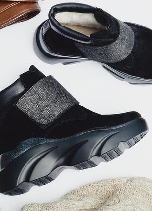 Замшевые зимние ботинки с липучкой на платформе, ботинки замша зима