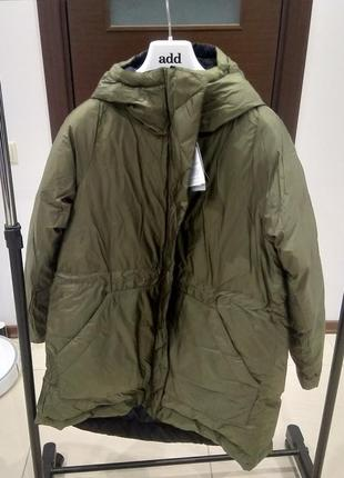 Новый, двухсторонний пуховик оверсайз nike down jacket rev куртка парка чёрный/хаки