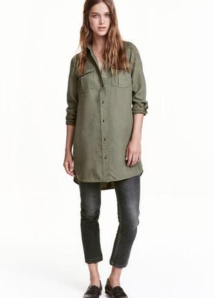 Длинная джинсовая рубашка h&m