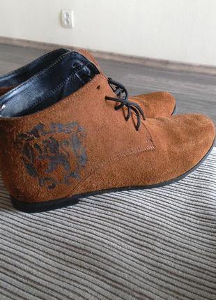 Ботинки рыжие, натуральная замша