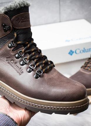 Зимние кожаные ботинки на меху columbia chinook boot коричневые