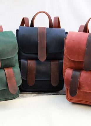Кожаный рюкзак, женский рюкзачок ручной работы