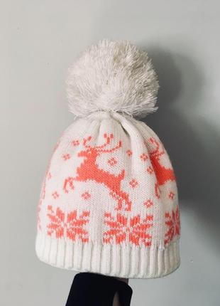 Шапка на зиму ,шапка с оленями