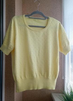 Красивый желтый вязаный свитер/ кофточка с коротким рукавом из натуральной ткани котон