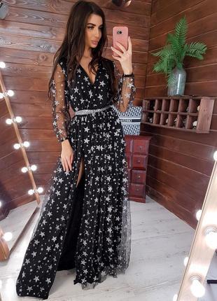 Сказочное платье в пол из органзы в звездах