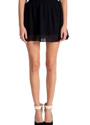 🔥🔥🔥стильная короткая легкая черная женская шифоновая юбка h&m🔥🔥🔥