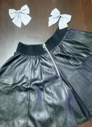 Кожаная юбка, юбка-солнце, короткая чёрная юбка, мини юбка