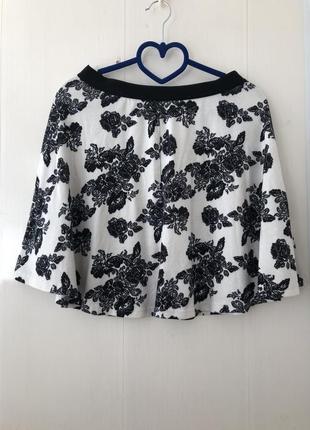 Плотная юбка юбочка солнце клёш, принт цветы черно белая на резинке