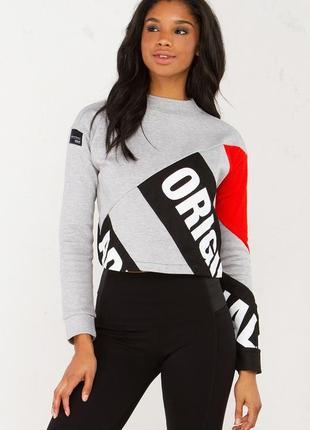 Стильный укорочений, кроп свитер, свитшот , оригинал adidas