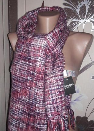 Мягкий зимний шарф с бахромой one size