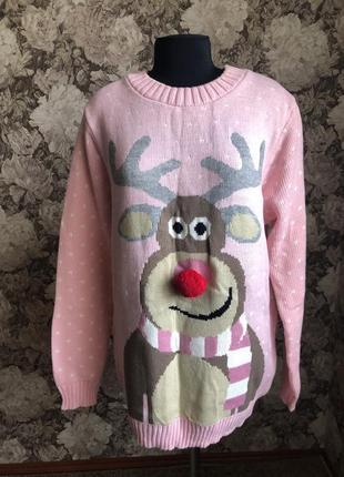 Свитер, тёплый свитер, свитер с оленями, розовый свитер, кофта, новогодний свитер, світер