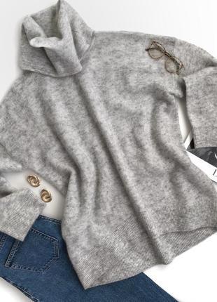 Серый шерстяной свитер мохеровый h&m oversize