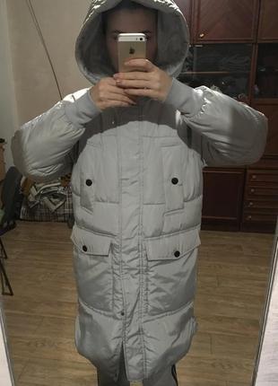 Зимняя женская куртка. наполнитель -холлофайбер. размер 38. модель оверсайз. киев