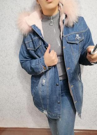 Курточка с мехом, джинсовая курточка с мехом