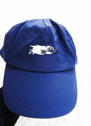 Бейсболка летняя лёгкая из коттона, синяя кепка с кротом