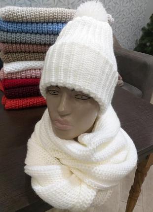 Шапка женская с бубоном шерсть теплая зимняя