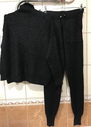 Костюм шерстяной тёплый костюм тёплый шерсть чёрный прогулочный костюм