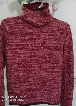 Класний брендовий шерстяний гольфик-пуловер кольору бордо-мнланж