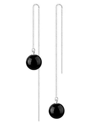 Стильные серьги-цепочки с черным камнем агатом висячие протяжки