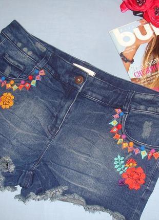 Шорты джинсовые женские летние размер 46 /12 с вышивкой пляжные короткие