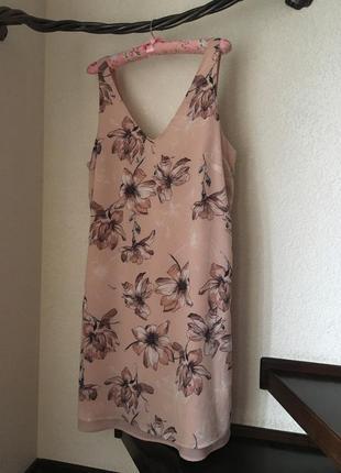 Платье батал шифоновое цветочный принт бельевой стиль свободный крой