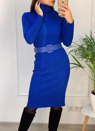 Трикотажное платье чулок длинное синее с