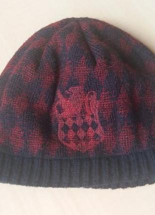 Вязаная шапка сине -бордовая в ромбы