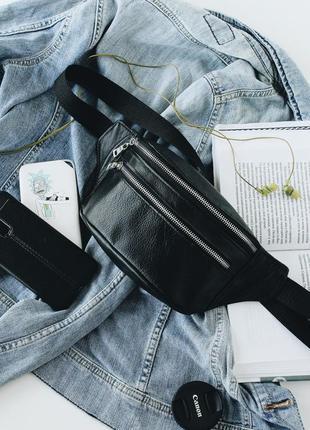 Мужская кожаная черная бананка, сумка на пояс/плечо. черная пятница. скидка