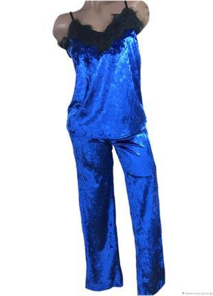 Велюровый комплект (майка-штаны) с французским кружевом