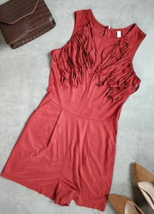Красный замшевый комбинезон с шортами, ромпер