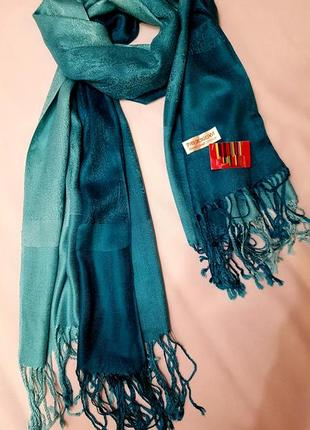 Pashmina палантин большой шарф перцы пашмина натуральный кашемир амбре градиент