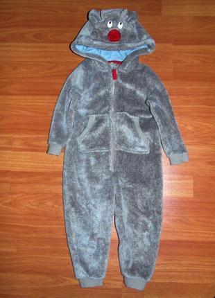 Теплый новогодний махровый человечек,ромпер с оленем, костюм оленя,2-3 года,92,98