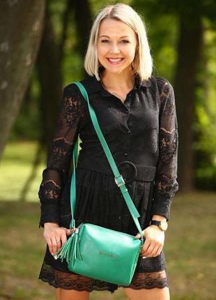 Зеленая модная сумка через плечо небольшая