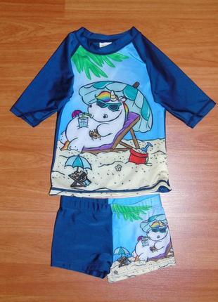 Новый пляжный солнцезащитный костюм, пляжные плавки,98,104,3-4 года