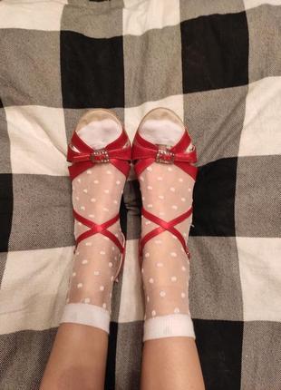 Красные туфли для танцев, для латиноамериканских танцев, латина, атласные туфли4 фото
