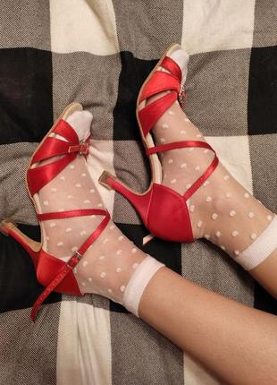 Красные туфли для танцев, для латиноамериканских танцев, латина, атласные туфли2 фото