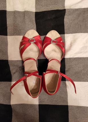 Красные туфли для танцев, для латиноамериканских танцев, латина, атласные туфли5 фото